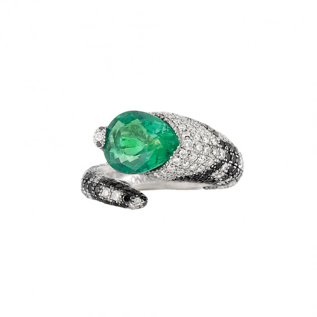 White Gold, Emerald, Diamond and Black Diamond Serpent Ring, de Grisogono