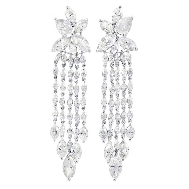 Pair of White Gold and Diamond Fringe Earrings