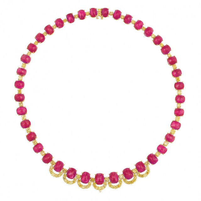 Gold, Cabochon Ruby and Fancy Vivid Yellow Diamond Necklace