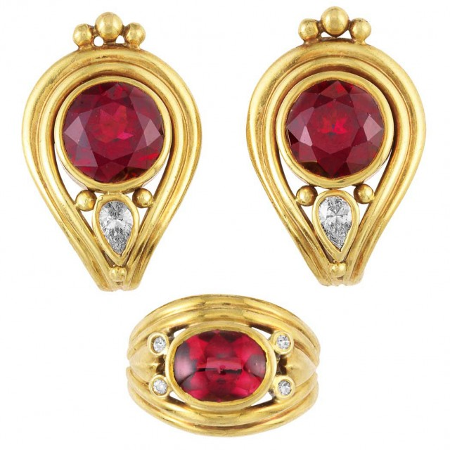 Pair of Gold, Garnet and Diamond Earclips and Ring, Helen Woodhull
