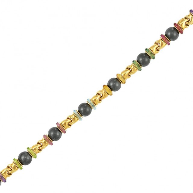 Gold, Hematite Bead and Gem-Set Bracelet, Bulgari, France