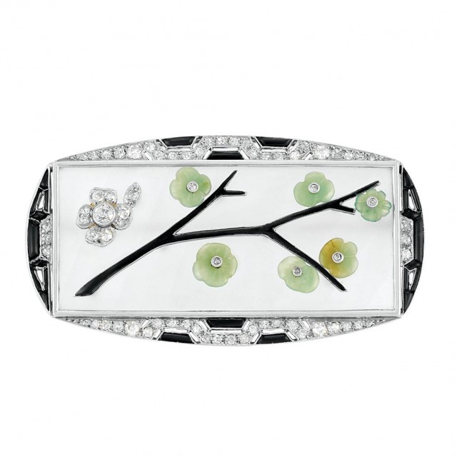 Art Deco Platinum, White Gold, Frosted Rock Crystal, Carved Jade, Diamond, Black Onyx and Black Enamel Brooch, France