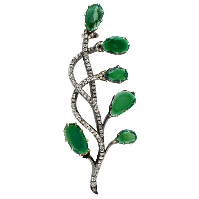Antique Russian Silver, Gold, Tourmaline and Diamond Brooch