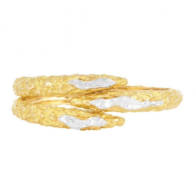 Two-Color Gold Crossover Swan Bangle Bracelet, Sterle, Paris