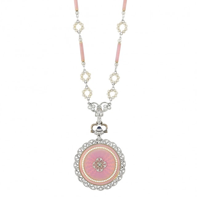 Belle Epoque Platinum, Guilloche Pink Enamel, Seed Pearl and Diamond Pendant-Watch Necklace