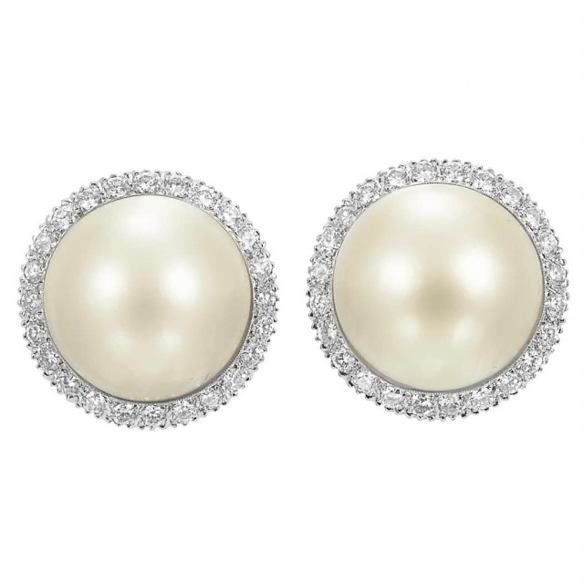 Pair of White Gold, Mabe Pearl and Diamond Earclips