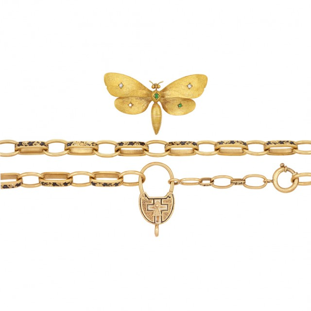 Antique Gold and Enamel Necklace and Gold, Diamond and Demantoid Garnet Butterfly Clip