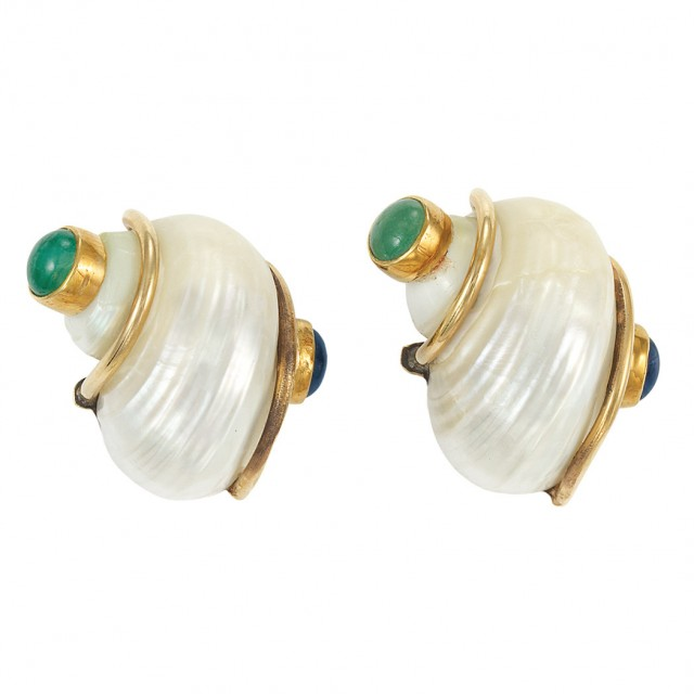 Pair of Gold, Shell, Cabochon Sapphire and Emerald Earrings, Seaman Schepps