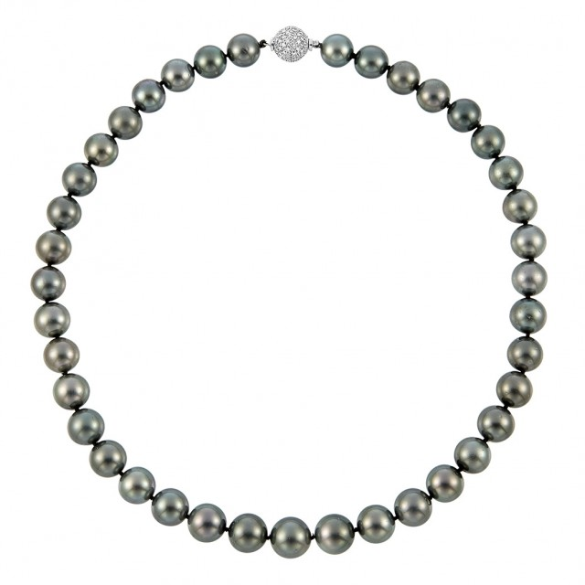 Black Cultured Pearl Necklace with White Gold and Diamond Ball Clasp