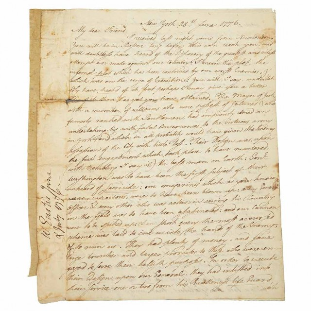 [WASHINGTON, GEORGE] EUSTIS, WILLIAM (Revolutionary War Surgeon, later Governor of Massachusetts). Autograph letter signed to D...