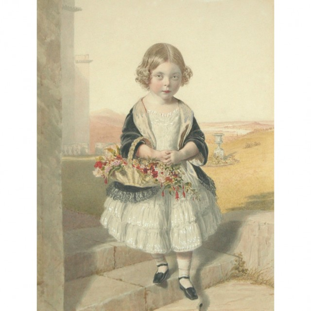 British School 20th Century Portrait of a Young Girl with a Basket of Flowers