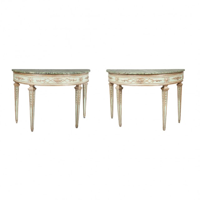 Pair of Northern Italian Neoclassical Painted and Silver-Gilt Consoles