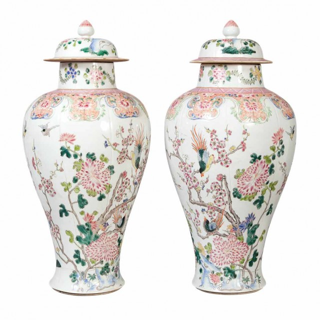 Pair of Chinese Famille Rose Porcelain Covered Jars