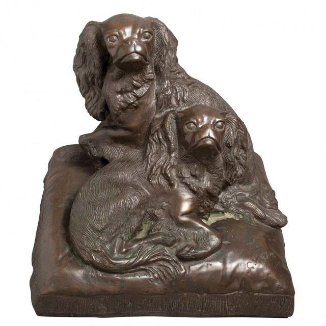 Patinated-Bronze Figural Group of Two Spaniels