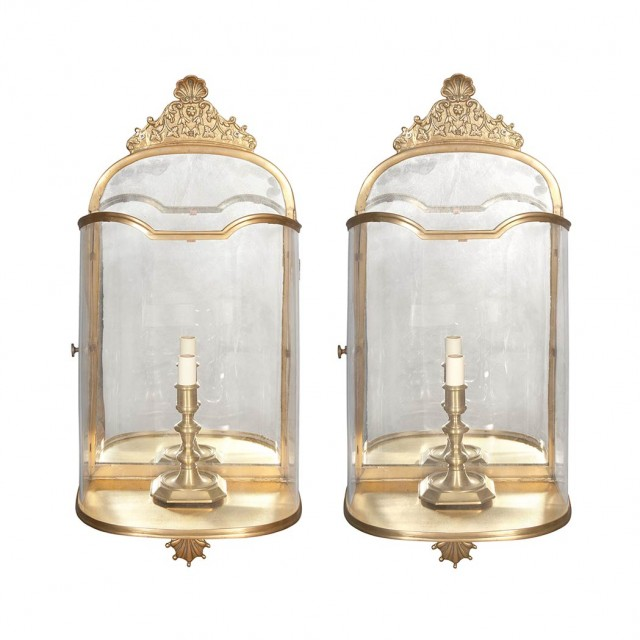 Set of Four Italian Rococo Style Brass and Glass Sconces