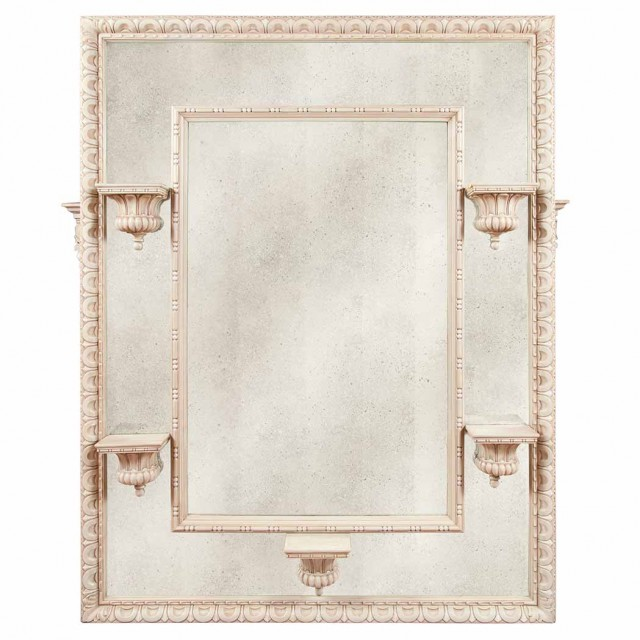 Louis XVI Style Carved and Painted Mirror