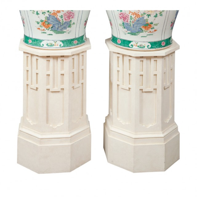 Pair of Chinese Style Painted Wood Octagonal Pedestals