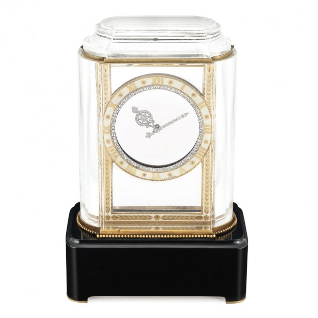 Art Deco Rock Crystal, Gold, Black Onyx, Enamel and Diamond \'Model A\' Mystery Clock, Cartier, France