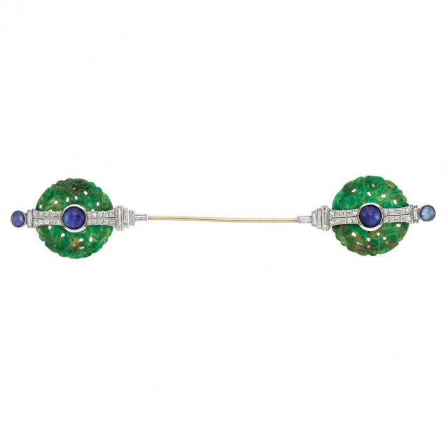 Art Deco Platinum, Gold, Carved Jade, Cabochon Sapphire and Diamond Jabot