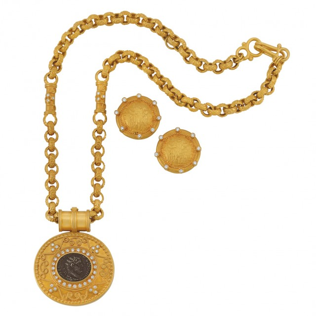 High Karat Gold, Diamond and Coin Pendant-Necklace and Pair of Earclips