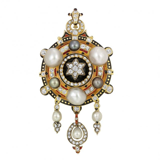 Renaissance Revival Gold, Button Pearl, Gray Pearl, Diamond and Enamel Pendant-Brooch
