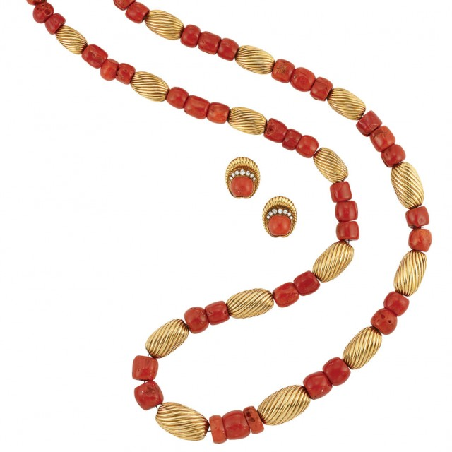 Long Gold and Coral Bead Necklace and Pair of Earrings, Patek Philippe and Co.