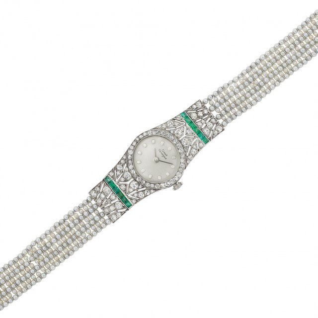 Edwardian Platinum, Diamond, Emerald and Seed Pearl Wristwatch, Girard Perregaux