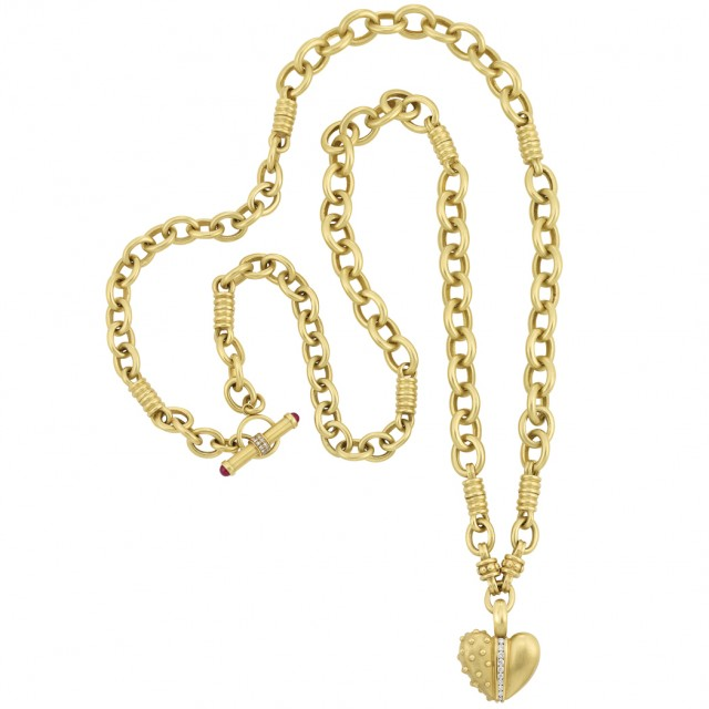 Long Gold and Diamond Heart Pendant Chain Necklace, Judith Ripka