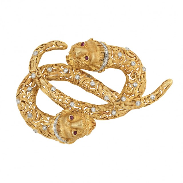 Gold, Platinum, Diamond and Ruby Clip-Brooch