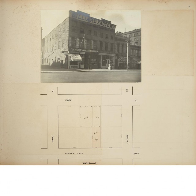 [SAN FRANCISCO]  Two large albums containing original photographs of the pre-earthquake real estate holdings owned by the heirs of James Graham Fair, this set belonging to Virginia Graham Fair, first wife of William K. Vanderbilt II