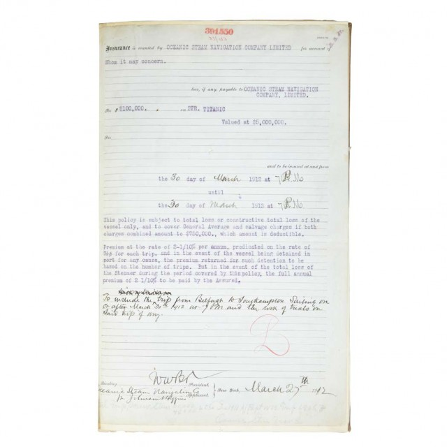 [TITANIC]  The ledger page of the insurance policy for the Titanic issued by the Atlantic Mutual Insurance Company