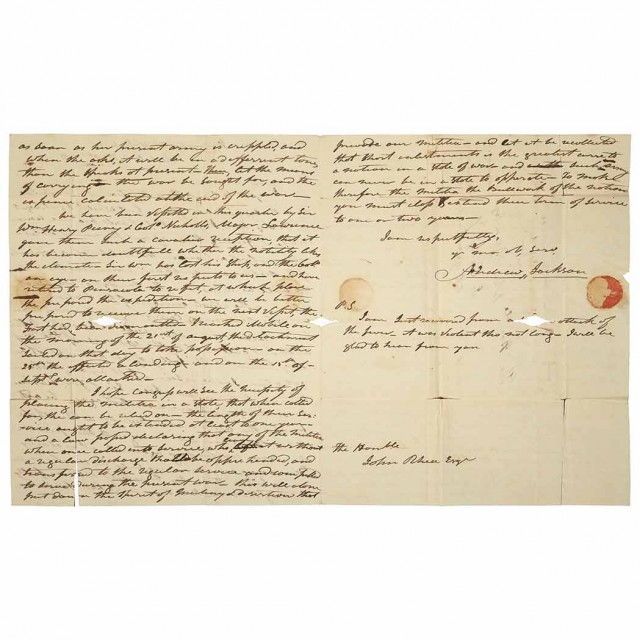 JACKSON, ANDREW  Autograph letter signed with strong wartime content