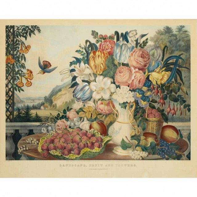 After Jules Sette [FLORAL BOUQUETS] Two hand-colored lithographs; Together...