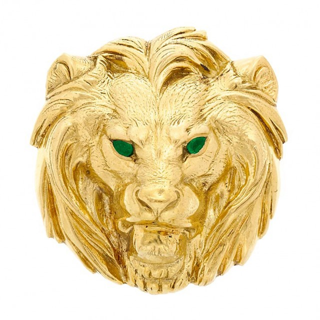 Gold And Emerald Lion Head Pendant Brooch Cartier For