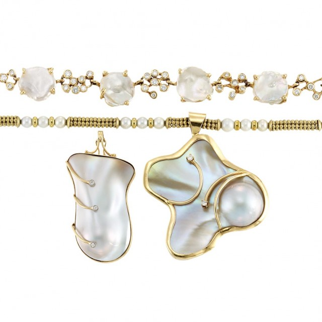 Group of Gold, Cultured Pearl, Freshwater Pearl, Mother-of-Pearl and...