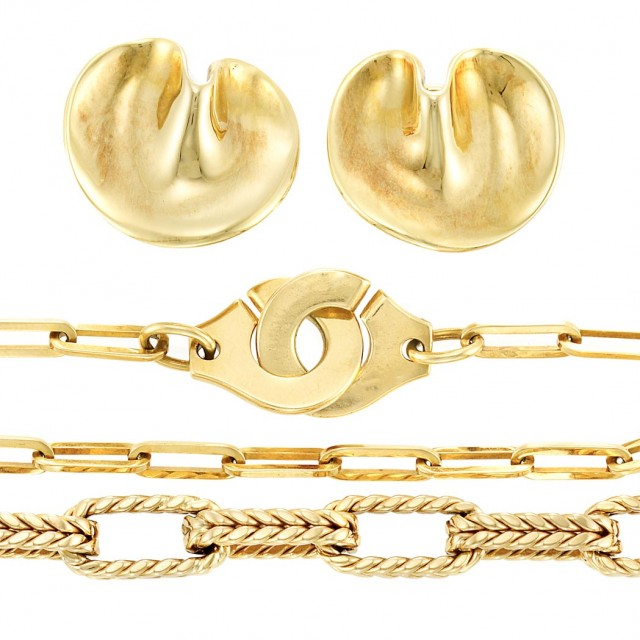 Pair of Gold Earclips, Tiffany & Co , Gold Bracelet, Dinh