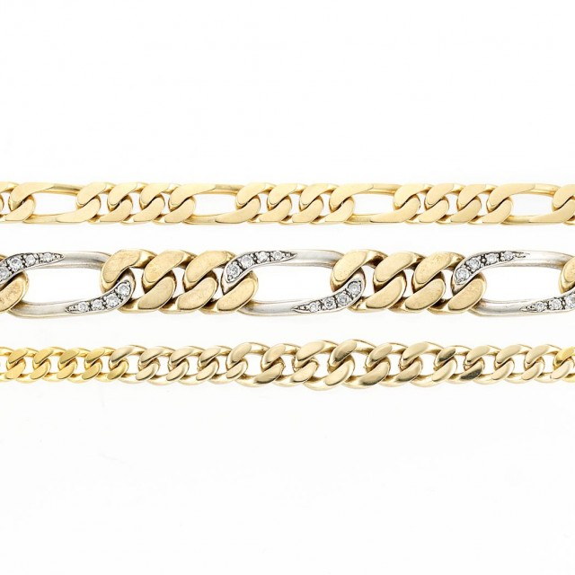 Gold Curb Link Necklace and Bracelet and Two-Color Gold and Diamond Curb...