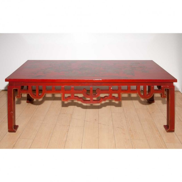 Incredible Chinese Style Chinoiserie Decorated Red Painted Coffee Table Bralicious Painted Fabric Chair Ideas Braliciousco