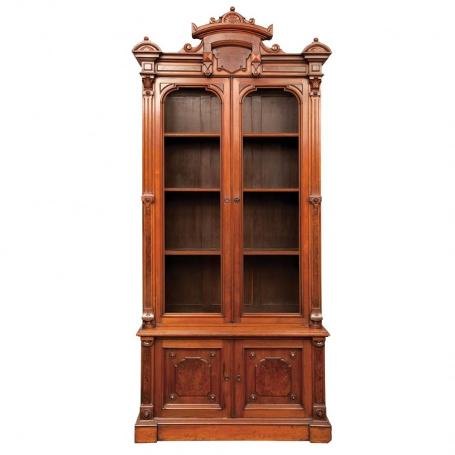 Pair of American Renaissance Revival Walnut Bookcase Cabinets