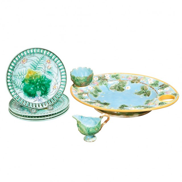 George Jones Majolica Strawberry Server; Together with a Set of Four...