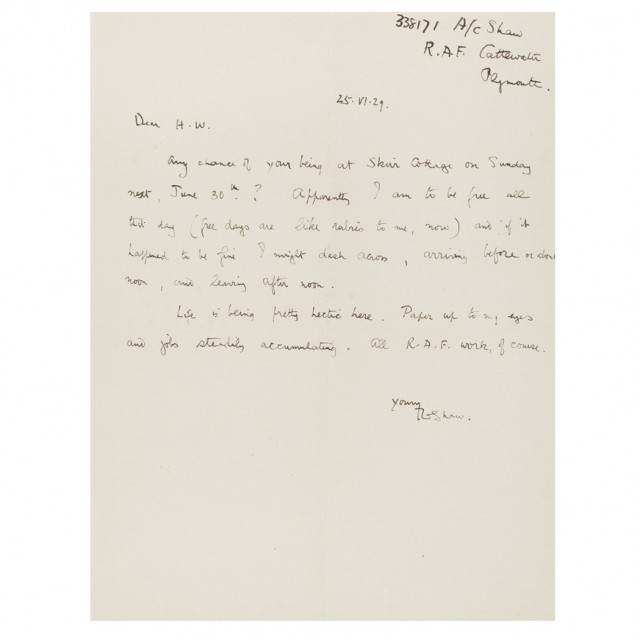 LAWRENCE, THOMAS EDWARD Autograph letter signed