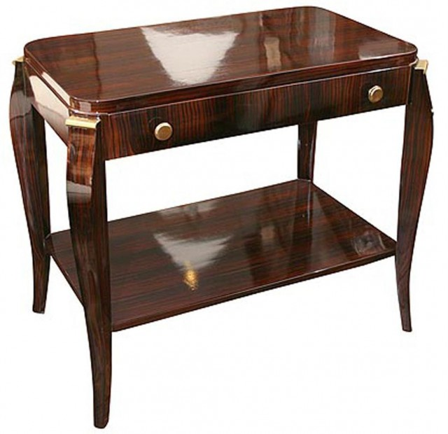 Art Deco Macassar Ebony and Brass Side Table