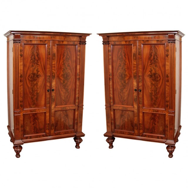 Pair of Continental Neoclassical Mahogany Cabinets
