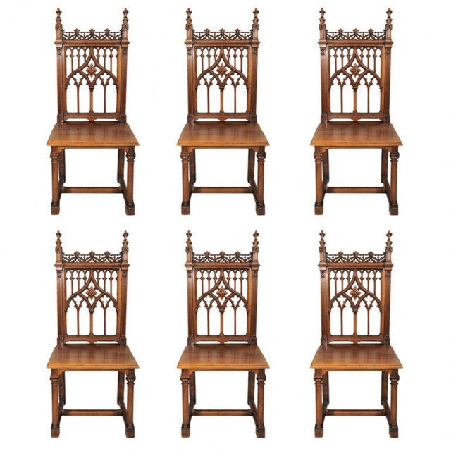 Set of Six Gothic Revival Walnut Side Chairs
