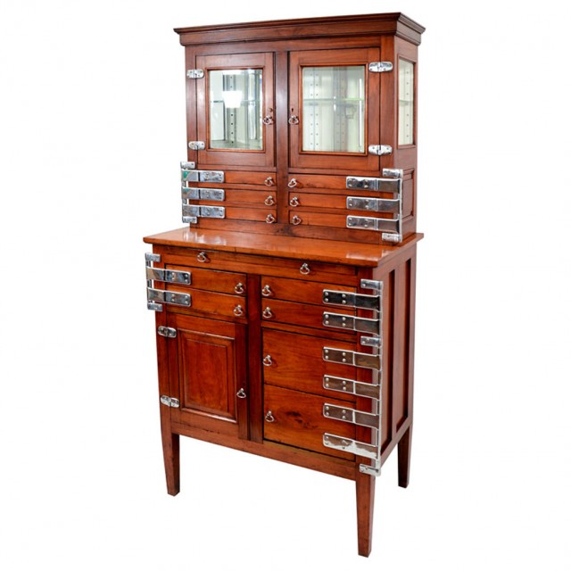 English Chrome and Walnut Physicians Cabinet