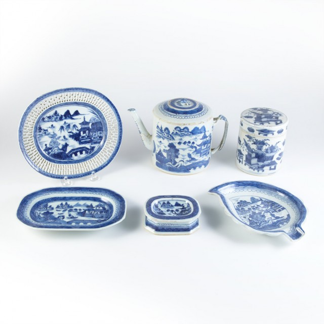 Group of Canton Blue and White Porcelain Articles