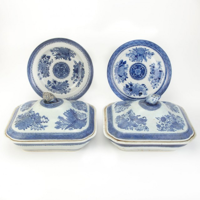 Pair of Chinese Export Porcelain Blue Fitzhugh Covered Dishes; Together...