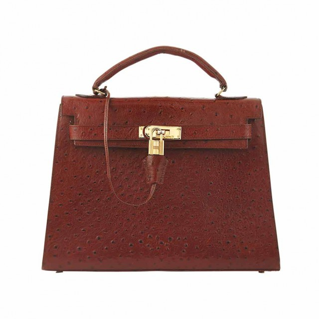 Brown Ostrich Kelly Purse, Hermes
