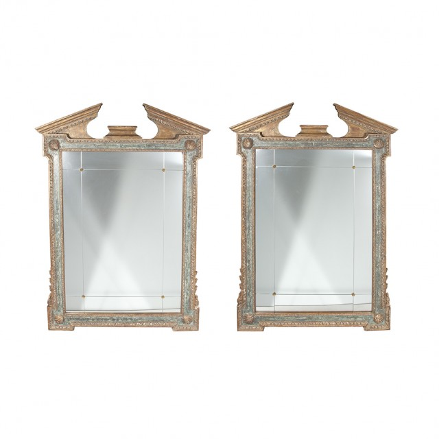 Pair of Georgian Style Parcel Gilt and Painted Wood Mirrors