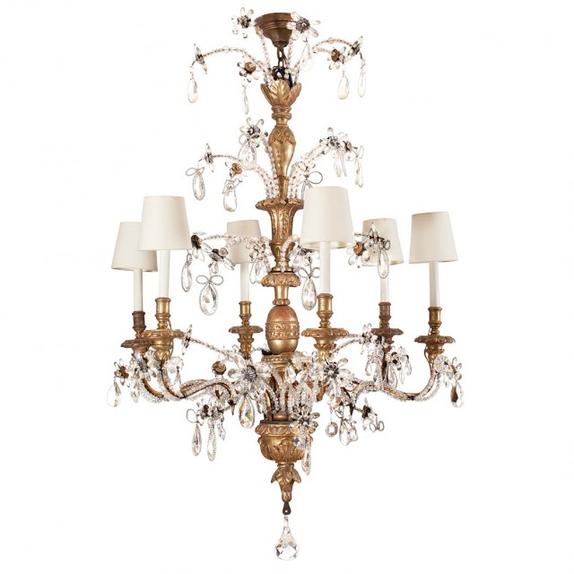 Continental Neoclassical Style Giltwood and Cut Glass Six-Light Chandelier